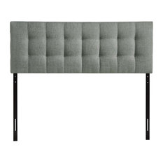 Lily Queen Upholstered Fabric Headboard, Gray