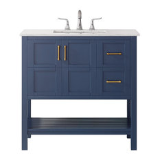 36-inch Vanity In Royal Blue With Carrara White Marble Countertop Without Mirror