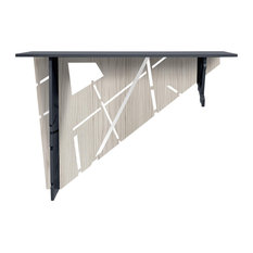 Diagonal Laser-Cut Grey Wood Console Table, Anthracite