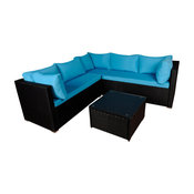 Modern Outdoor Garden Sectional Wicker Sofa Set With Coffee Table, Black & Blue