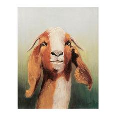 Goat Headshot Art, Canvas Print with Handpainting