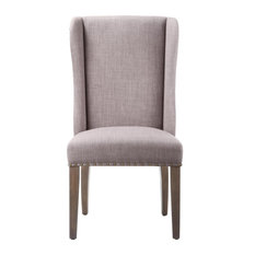 Fabric Upholstered Wooden Chair With Demi Wing Back Design Set Of 2 Brown And