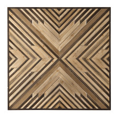 """Luxe Mid Century Modern Geometric Angles Wall Square, 40"""" Sculpture Wood Retro"""