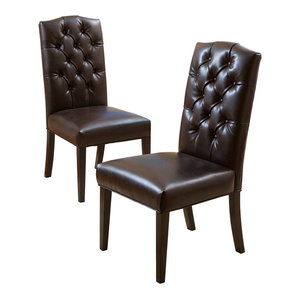 GDF Studio Clark Dining Chairs, Brown, Set of 2