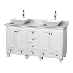 "60"" Acclaim White Double Vanity, White Carrera Top and Pyra White Porcelain Sink"