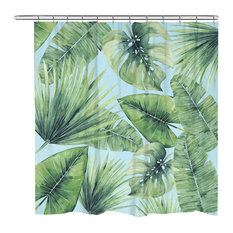 Laural Home   Tropical Palm Tree Leaves Shower Curtain   Shower Curtains  Tropical Shower Curtain