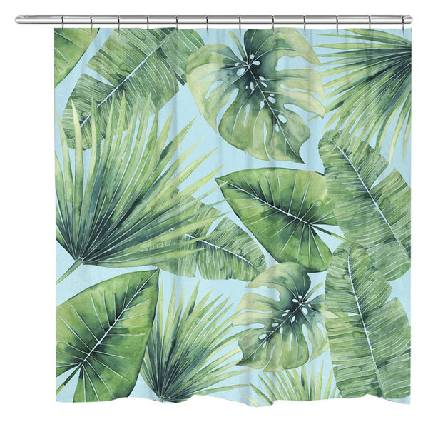 Tropical Palm Tree Leaves Shower Curtain - Tropical - Shower ...
