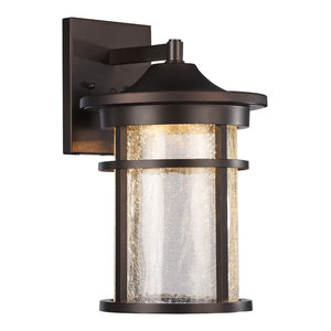 "Frontier Transitional LED Textured Outdoor Wall Sconce, Rubbed Bronze 15"" Height"
