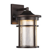 "Frontier Transitional LED Textured Outdoor Wall Sconce, Rubbed Bronze, 15"" Heigh"