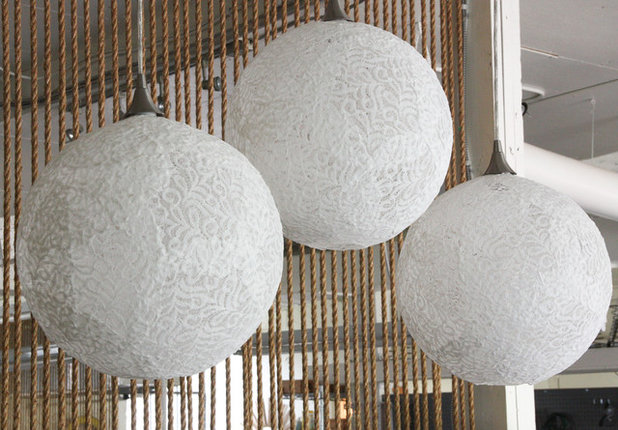 Lace Goes Modern in an Upholsterers DIY Pendant Lights