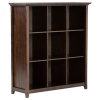 """Acadian Solid Wood 48"""" x 44"""" 9 Cube Bookcase and Storage Unit, Tobacco Brown"""