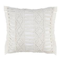 """Hand Made Macrame Indoor Outdoor Throw Pillow, 24"""" X 24"""""""
