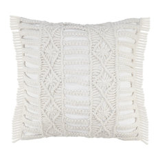 Hand Made Macrame Indoor Outdoor Throw Pillow, White