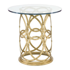 Antonia Hollywood Regency Round Gold Metal Side End Table Tables And