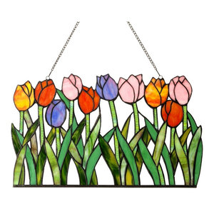 Tulipa Tiffany-Glass Tulips Window Panel