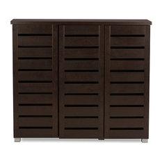 3-Door Wooden Entryway Storage Cabinet, Dark Brown
