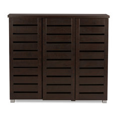 Baxton Studio - 3-Door Wooden Entryway Storage Cabinet, Dark Brown - Storage Cabinets