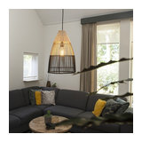Art Deco Pendant Lamp Bamboo Wood with Black - Bamboo