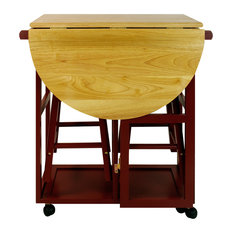 Breakfast Cart With Drop Leaf Table, Red