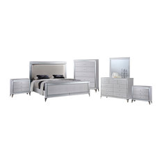 All in One Furniture - Metallic White 6-Piece Glam Bedroom Set with Mirrored Accents, Eastern King - Bedroom Furniture Sets