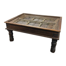 Mogulinterior   Consigned Antique Handcarved Haveli Door Table Unique Style Coffee  Table   Coffee Tables