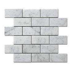 "Bianco Carrara Honed 2""x4""x3/8"" Brick Mosaic (.84sf)"