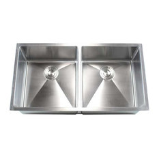 """Stainless Steel Undermount Double-Bowl Kitchen Sink, Brushed Steel, 37"""""""