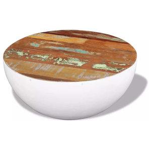 vidaXL Solid Reclaimed Wood Bowl Shaped Coffee Table, 60x60x30 cm
