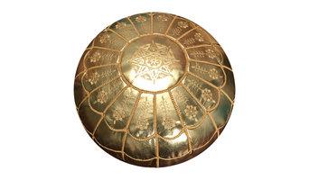 Full Arch, Moroccan Pouf Ottoman Leather, Metallic Gold, Stuffed