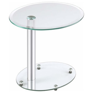 Modern Coffee Table with Stainless Steel Bar and Tempered Glass Top