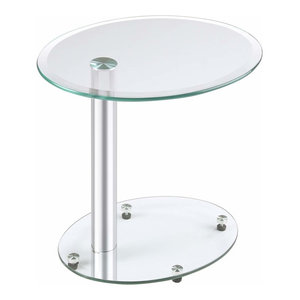 Modern Coffee Table With Stainless Steel Bar And Tempered
