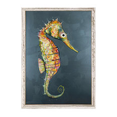 """Floating Seahorse Blue"" Mini Framed Canvas by Eli Halpin"