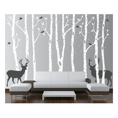 Birch Tree Wall Decal Forest With Snow Birds and Deer Vinyl Sticker Removable