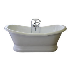 "Empress 68"" Double Slipper Pedestal White Tub"