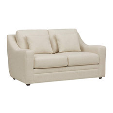 Loveseat Polyester With Loose Back And Removable Cushions Ecru