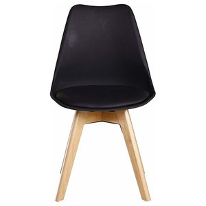 Contemporary Chair, Black Painted Plastic With Wooden Legs, Tulip Design