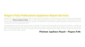Appliance Repair Niagara Falls - Platinum Appliance Repair 289-271-6843