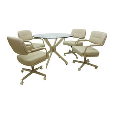 Glass Top Dinette Set With Swivel/Tilt Chairs, Beige