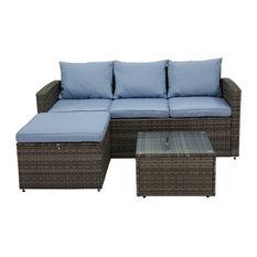 Rio 3-Piece Wicker Conversation Set With Storage, Gray Wicker/Blue Cushions