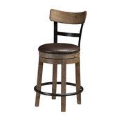 Pinnadel Upholstered Swivel Barstools, Set of 2, Light Brown