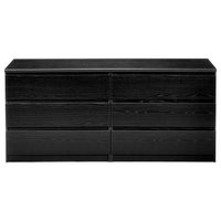 Naia 6-Drawer Double Dresser, Black Wood Grain