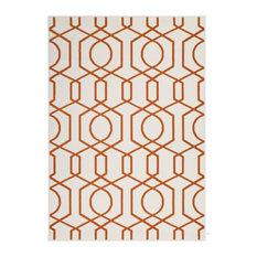 Contemporary 2-tone Area Rug, Ivory and Orange, 200x290 cm