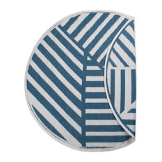 DII Blue Geometric Outdoor Rug 5' Round