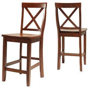 Awesome X Back Bar Stools With 24 Seat Height Set Of 2 Andrewgaddart Wooden Chair Designs For Living Room Andrewgaddartcom