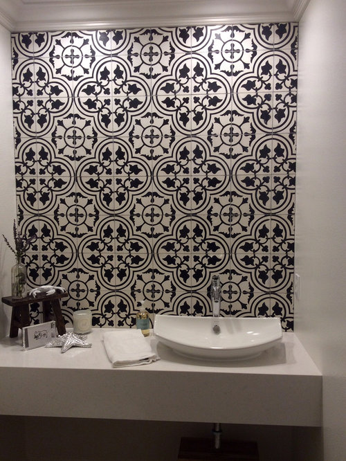 Suarez Cement Tile Backsplash For Powder Room