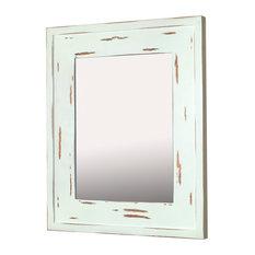 Fox Hollow Furnishings 14x18 Mirrored Medicine Cabinet Distressed White