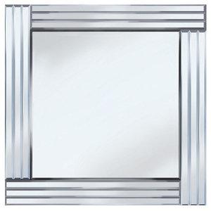 Triple Bar Square Mirror, Silver