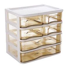 Plastic Desktop Storage Drawer Organizer-6 Storage Cabinets Brown