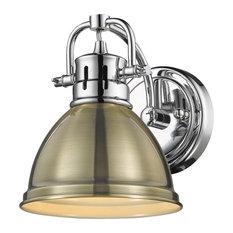 Duncan 1 Light Bath Vanity, Chrome With Aged Brass