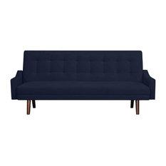 Oak Creek Click Clack Futon Sofa Bed, Navy Blue Velvet